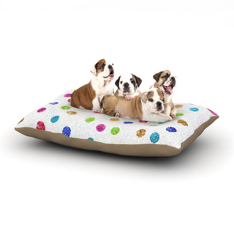 "Beth Engel ""Seeing Dots"" Rainbow White Dog Bed - KESS InHouse  - 1"