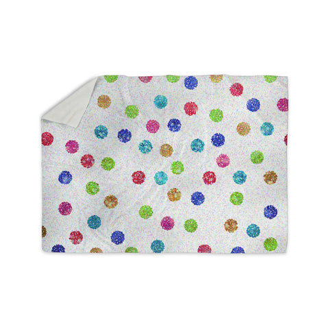 "Beth Engel ""Seeing Dots"" Rainbow White Sherpa Blanket - KESS InHouse  - 1"