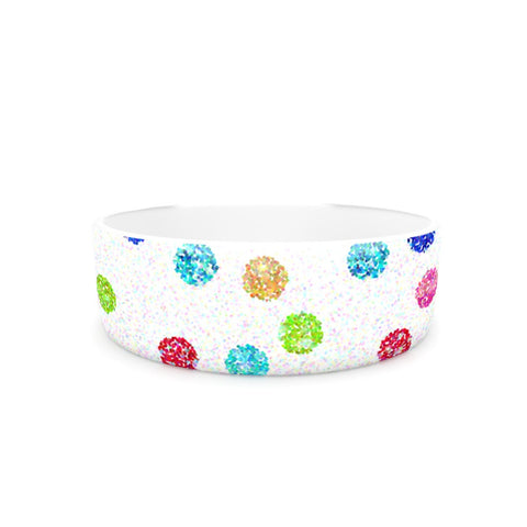 "Beth Engel ""Seeing Dots"" Rainbow White Pet Bowl - KESS InHouse"