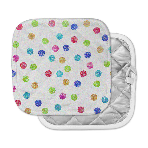 "Beth Engel ""Seeing Dots"" Rainbow White Pot Holder"