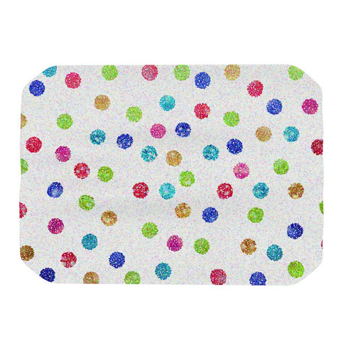 "Beth Engel ""Seeing Dots"" Rainbow White Place Mat - KESS InHouse"