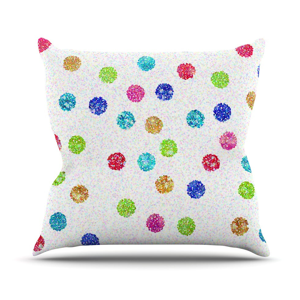 "Beth Engel ""Seeing Dots"" Rainbow White Outdoor Throw Pillow - KESS InHouse  - 1"