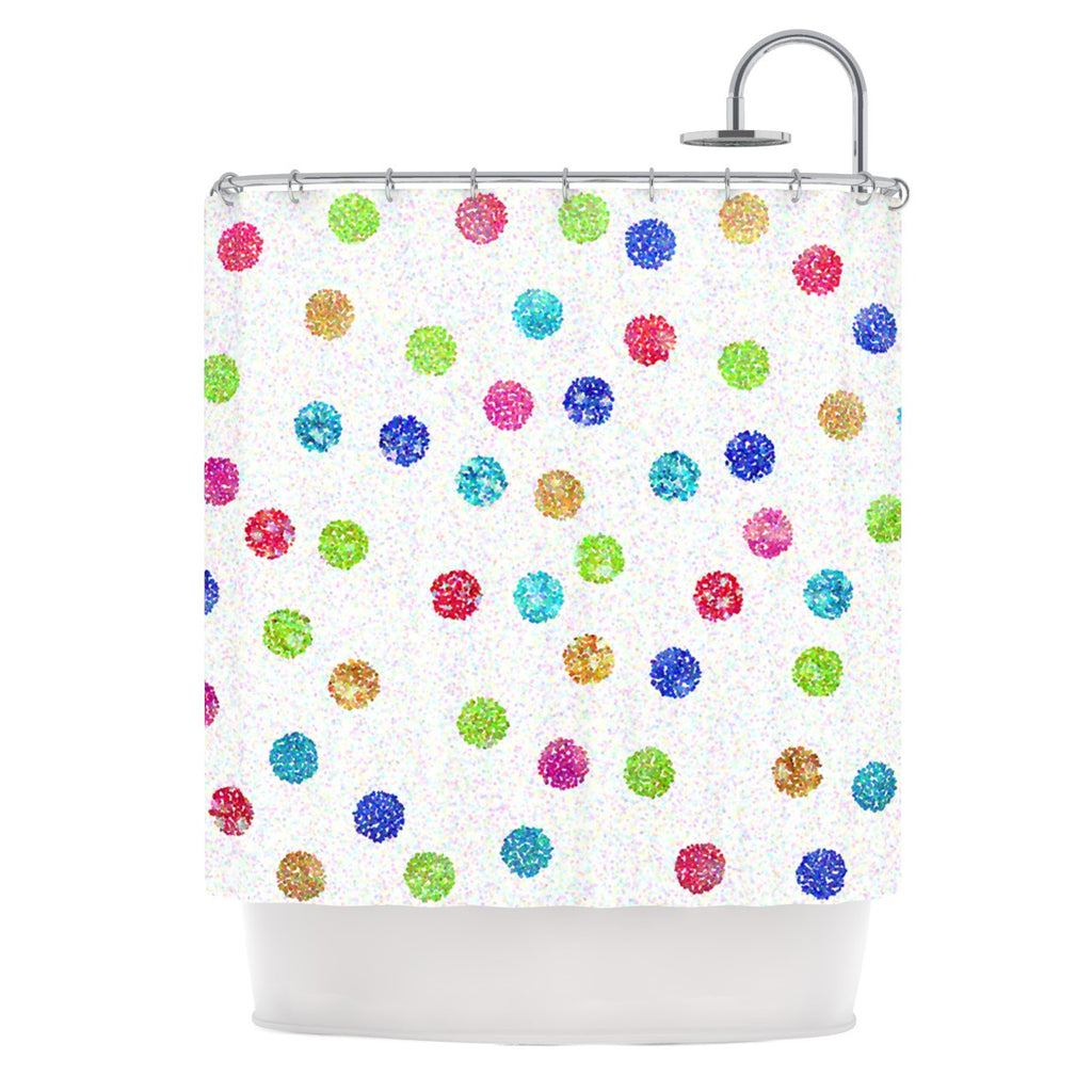 "Beth Engel ""Seeing Dots"" Rainbow White Shower Curtain - KESS InHouse"