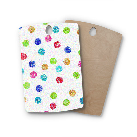 "Beth Engel ""Seeing Dots"" Rainbow White Rectangle Wooden Cutting Board"
