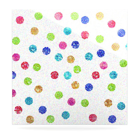 "Beth Engel ""Seeing Dots"" Rainbow White Luxe Square Panel - KESS InHouse  - 1"