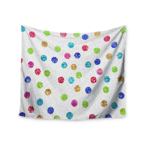 "Beth Engel ""Seeing Dots"" Rainbow White Wall Tapestry - KESS InHouse  - 1"