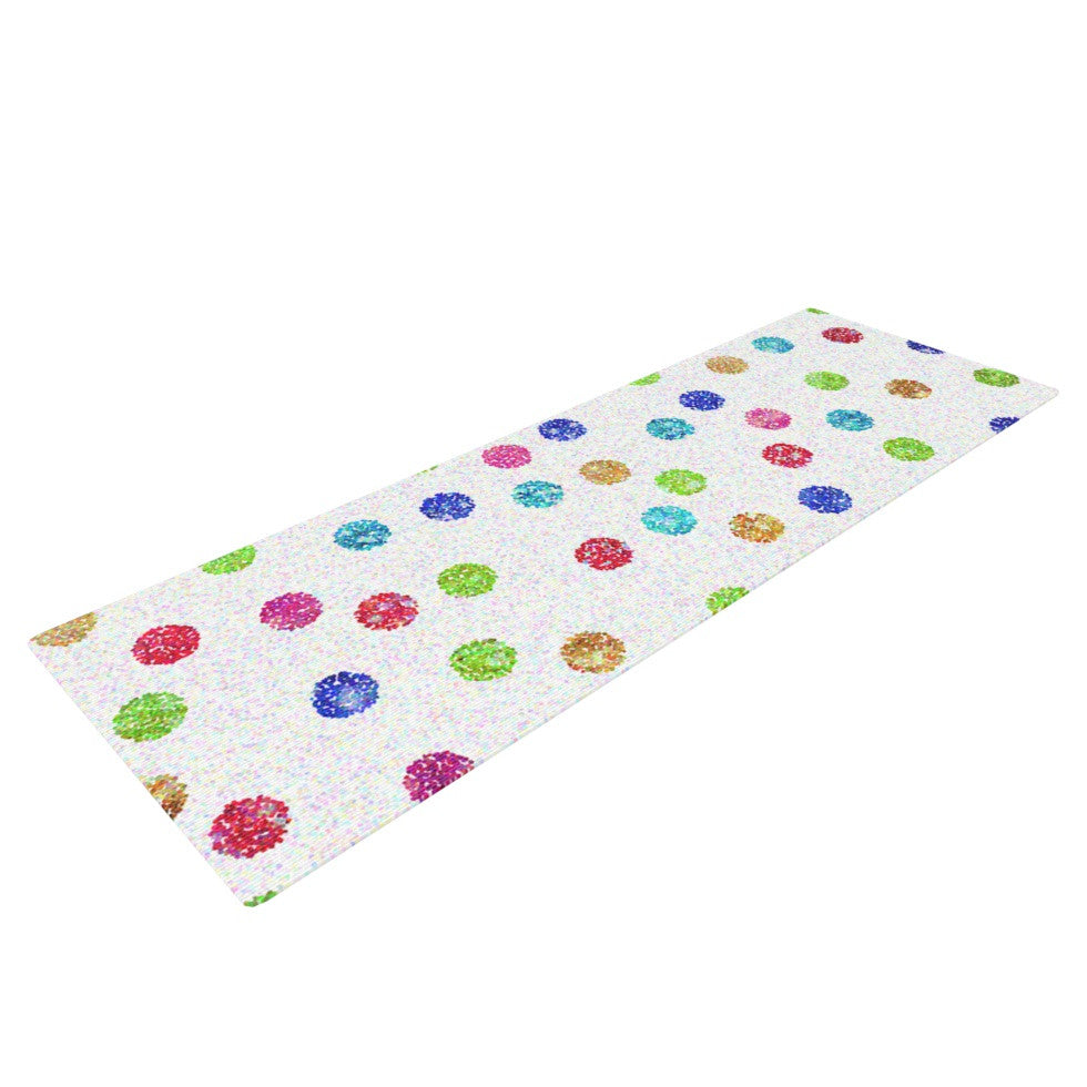 "Beth Engel ""Seeing Dots"" Rainbow White Yoga Mat - KESS InHouse  - 1"