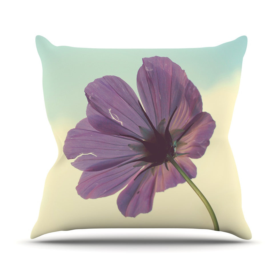 "Beth Engel ""Torn But Never Broken"" Purple Flower Outdoor Throw Pillow - KESS InHouse  - 1"