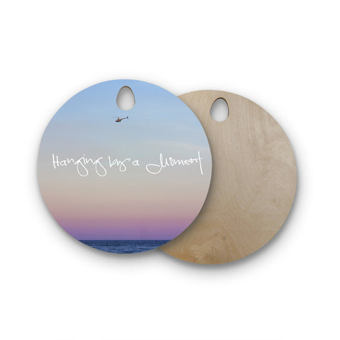 "Beth Engel ""Hanging By A Moment"" Sky Blue Round Wooden Cutting Board"