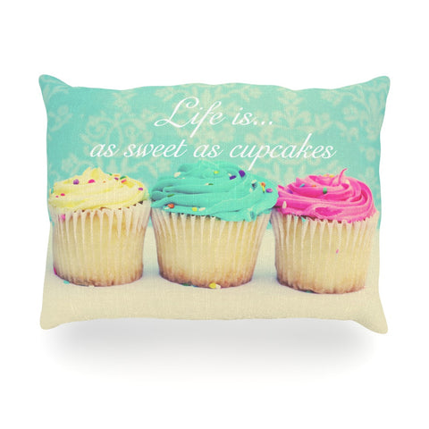 "Beth Engel ""Life Is As Sweet As Cupcakes"" Green Oblong Pillow - KESS InHouse"
