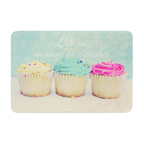 "Beth Engel ""Life Is As Sweet As Cupcakes"" Green Memory Foam Bath Mat - KESS InHouse"