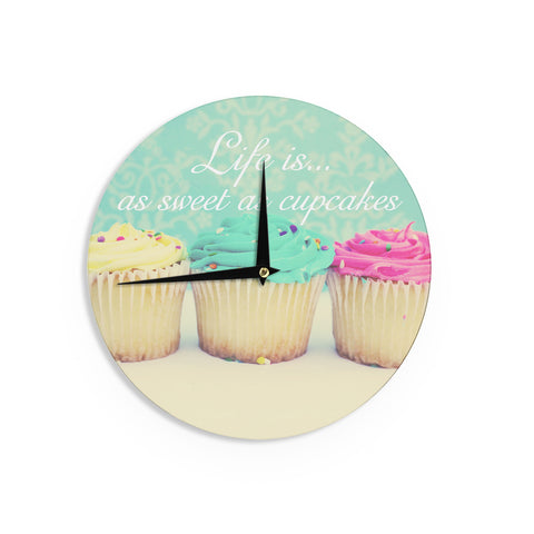 "Beth Engel ""Life Is As Sweet As Cupcakes"" Green Wall Clock - KESS InHouse"