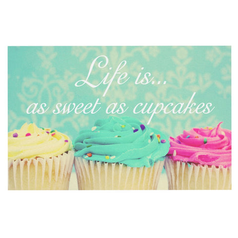 "Beth Engel ""Life Is As Sweet As Cupcakes"" Green Decorative Door Mat - KESS InHouse"