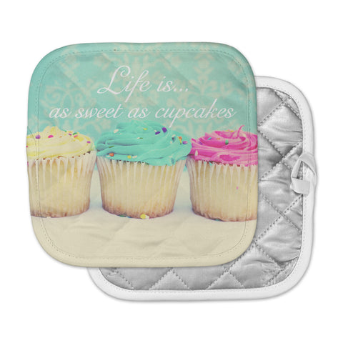 "Beth Engel ""Life Is As Sweet As Cupcakes"" Green Pot Holder"