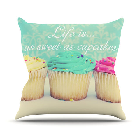 "Beth Engel ""Life Is As Sweet As Cupcakes"" Green Outdoor Throw Pillow - KESS InHouse  - 1"