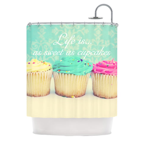 "Beth Engel ""Life Is As Sweet As Cupcakes"" Green Shower Curtain - KESS InHouse"