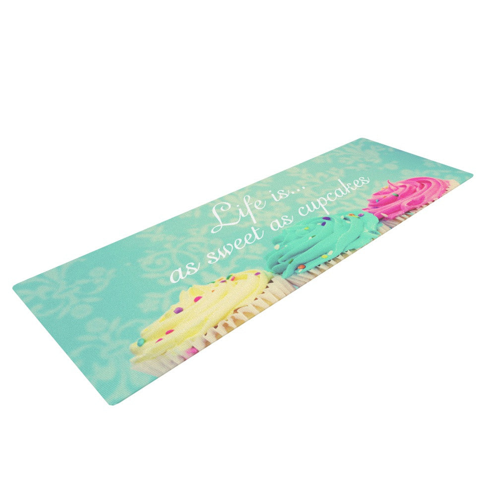 "Beth Engel ""Life Is As Sweet As Cupcakes"" Green Yoga Mat - KESS InHouse  - 1"