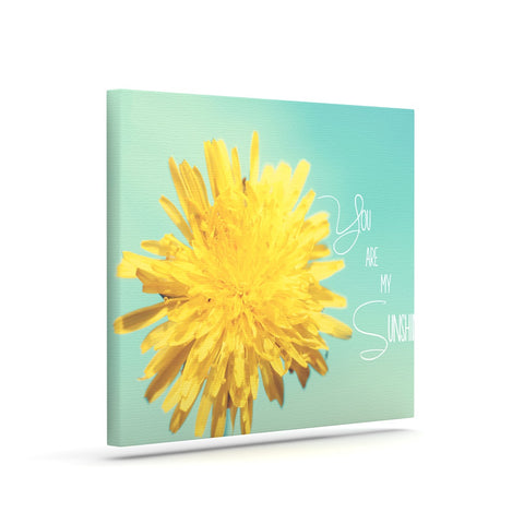 "Beth Engel ""You Are My Sunshine"" Teal Flower Canvas Art - KESS InHouse  - 1"