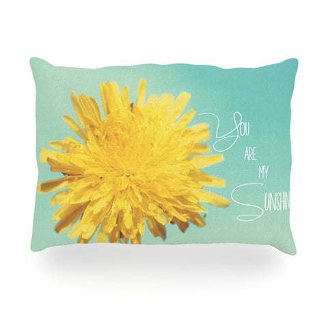 "Beth Engel ""You Are My Sunshine"" Teal Flower Oblong Pillow - KESS InHouse"