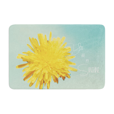 "Beth Engel ""You Are My Sunshine"" Teal Flower Memory Foam Bath Mat - KESS InHouse"
