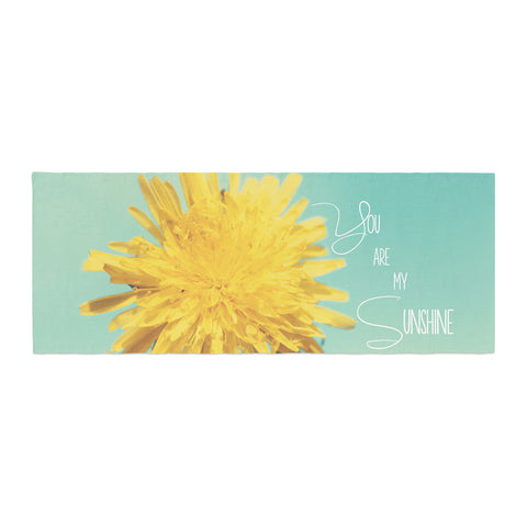 "Beth Engel ""You Are My Sunshine"" Teal Flower Bed Runner - KESS InHouse"