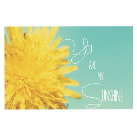 "Beth Engel ""You Are My Sunshine"" Teal Flower Decorative Door Mat - KESS InHouse"