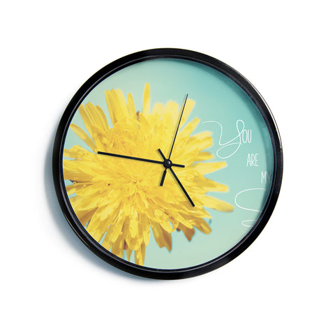 "Beth Engel ""You Are My Sunshine"" Teal Flower Modern Wall Clock"