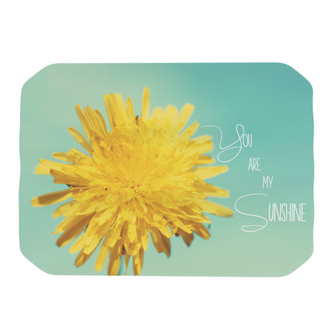 "Beth Engel ""You Are My Sunshine"" Teal Flower Place Mat - KESS InHouse"