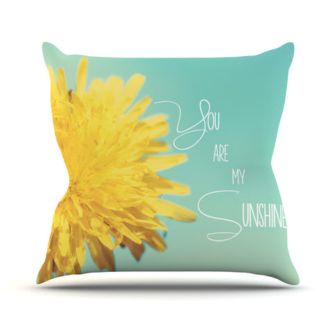 "Beth Engel ""You Are My Sunshine"" Teal Flower Outdoor Throw Pillow - KESS InHouse  - 1"