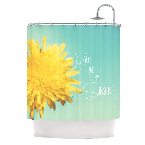 "Beth Engel ""You Are My Sunshine"" Teal Flower Shower Curtain - KESS InHouse"