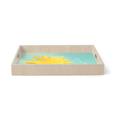 "Beth Engel ""You are My Sunshine"" Teal Flower Birchwood Tray"