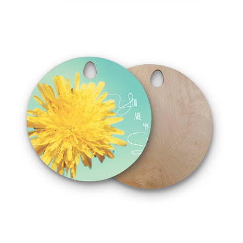 "Beth Engel ""You Are My Sunshine"" Teal Flower Round Wooden Cutting Board"
