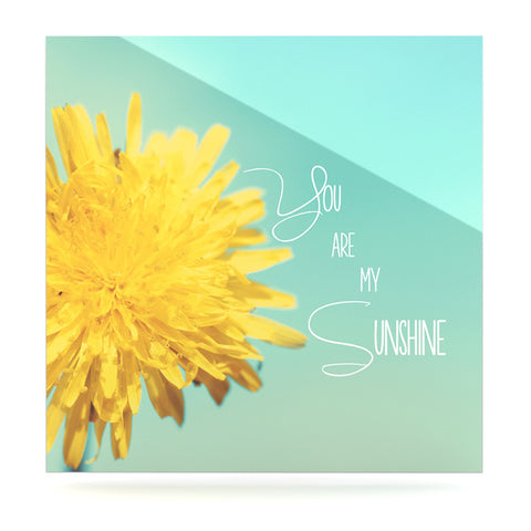 "Beth Engel ""You Are My Sunshine"" Teal Flower Luxe Square Panel - KESS InHouse  - 1"