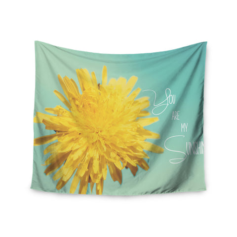 "Beth Engel ""You Are My Sunshine"" Teal Flower Wall Tapestry - KESS InHouse"