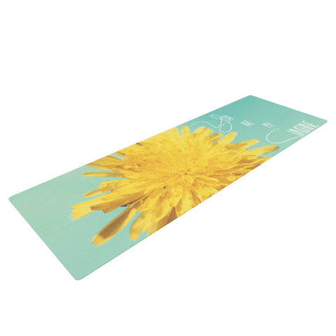 "Beth Engel ""You Are My Sunshine"" Teal Flower Yoga Mat - KESS InHouse  - 1"