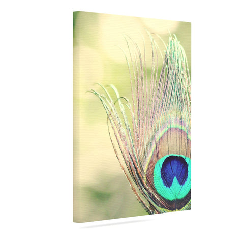 "Beth Engel ""Sun Kissed"" Peacock Feather Canvas Art - KESS InHouse  - 1"