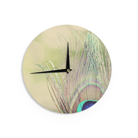 "Beth Engel ""Sun Kissed"" Peacock FeatherWall Clock - KESS InHouse"