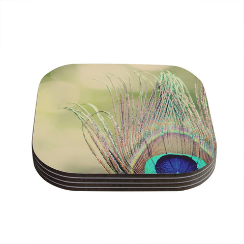 "Beth Engel ""Sun Kissed"" Peacock Feather Coasters (Set of 4)"