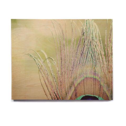 "Beth Engel ""Sun Kissed"" Peacock Feather Birchwood Wall Art - KESS InHouse  - 1"