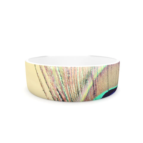 "Beth Engel ""Sun Kissed"" Peacock Feather Pet Bowl - KESS InHouse"