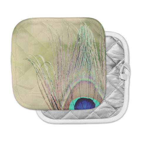 "Beth Engel ""Sun Kissed"" Peacock Feather Pot Holder"