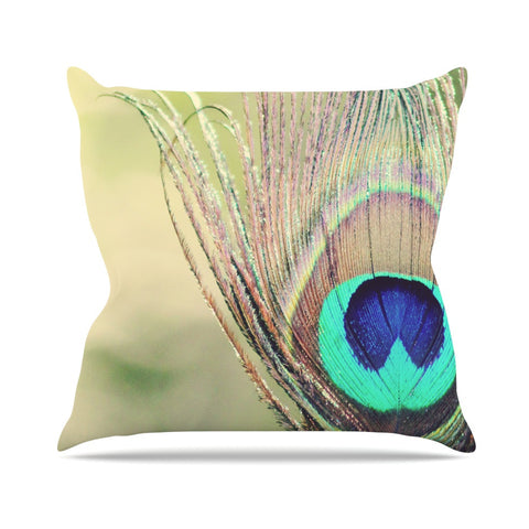 "Beth Engel ""Sun Kissed"" Peacock Feather Throw Pillow - KESS InHouse  - 1"