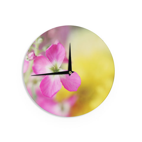 "Beth Engel ""Lucky One"" Floral Photography Wall Clock - KESS InHouse"