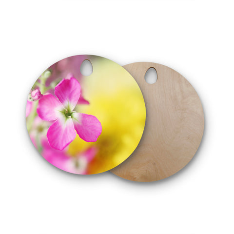 "Beth Engel ""Lucky One"" Floral Photography Round Wooden Cutting Board"