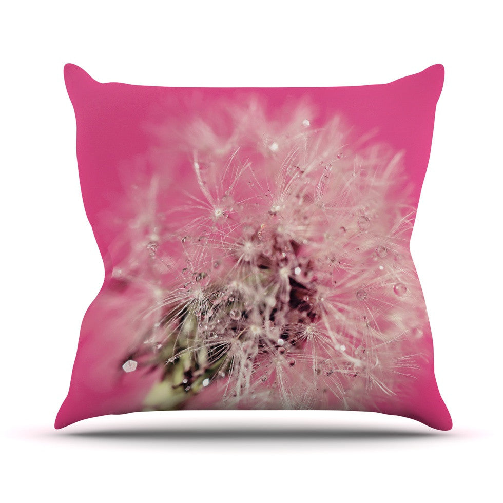 "Beth Engel ""Pink Twilight"" Magenta Dandelion Outdoor Throw Pillow - KESS InHouse  - 1"