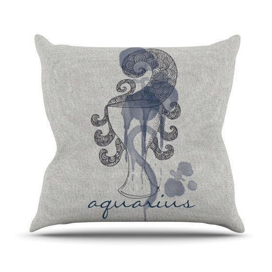 "Belinda Gillies ""Aquarius"" Outdoor Throw Pillow - KESS InHouse  - 1"