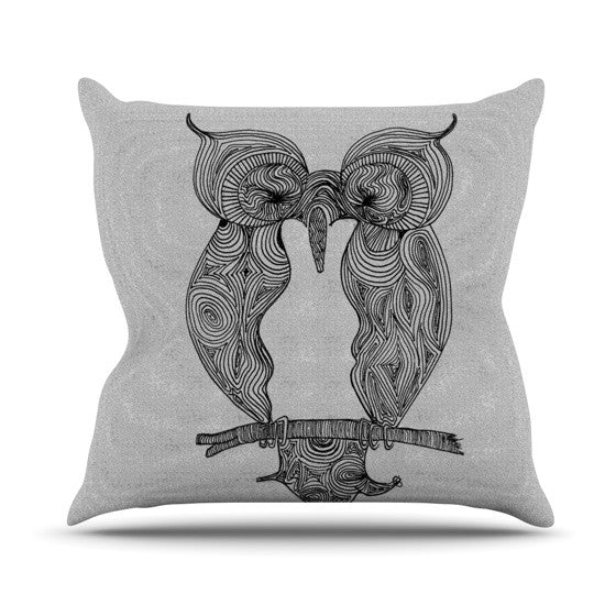 "Belinda Gillies ""Owl"" Outdoor Throw Pillow - KESS InHouse  - 1"