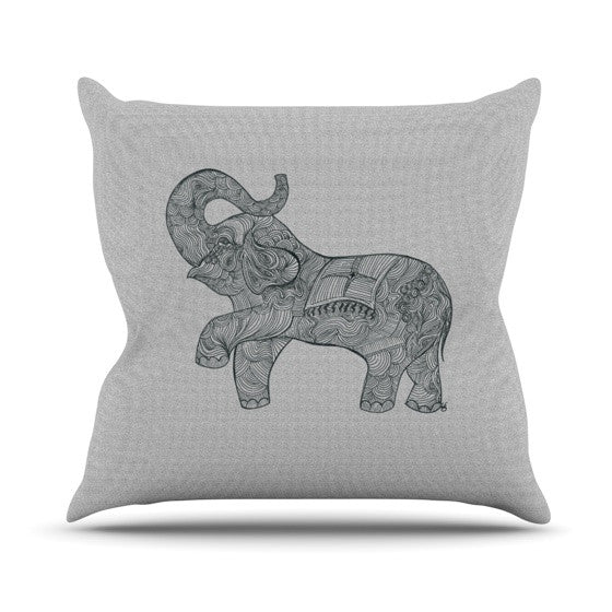 "Belinda Gillies ""Elephant"" Outdoor Throw Pillow - KESS InHouse  - 1"