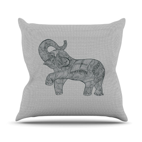"Belinda Gillies ""Elephant"" Throw Pillow - KESS InHouse  - 1"