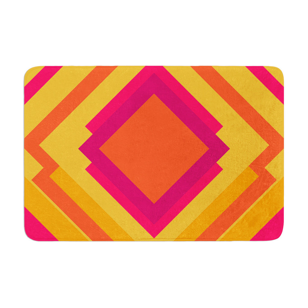 "Belinda Gillies ""Diamond Dayze"" Orange Pink Memory Foam Bath Mat - KESS InHouse"